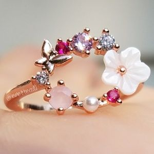 Rose Gold Flower & Butterfly Circle Halo Ring